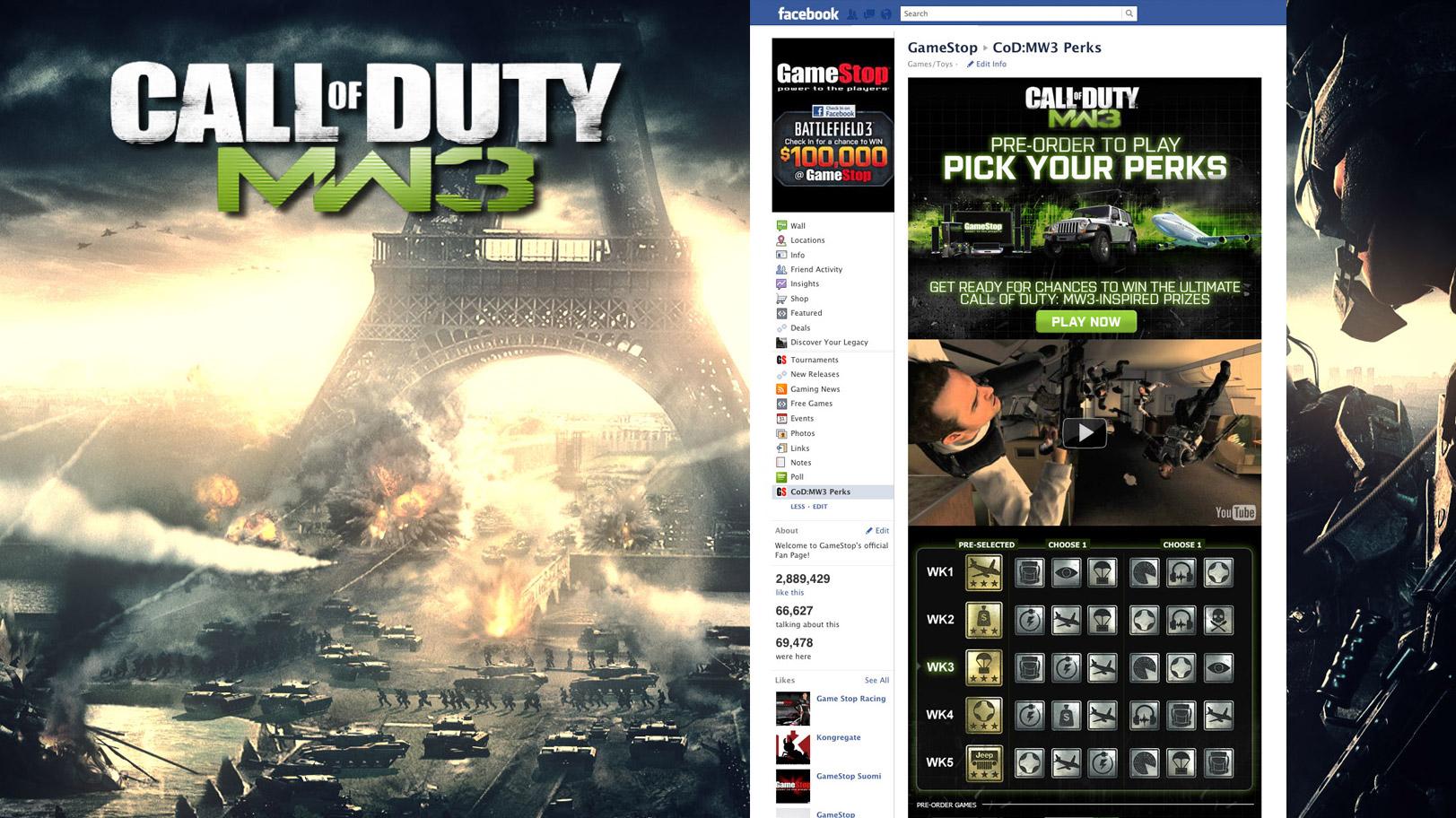 Gamestop CoD:MW3 Perks Facebook Tab